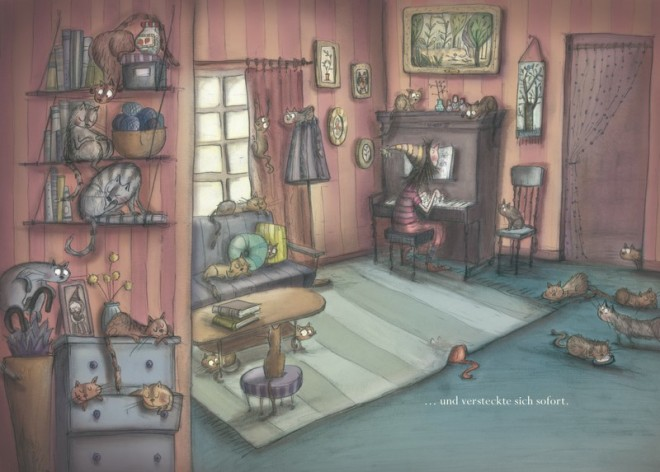 Henriettes Heim Wohnstube mit Klavierbegleitung